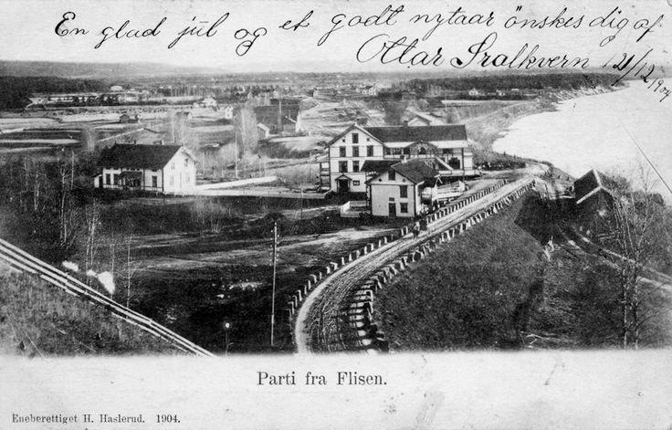 Flisa i Solør Åsnes kommune Hedmark fylke utsikt Foto: H. Haslerud 1904