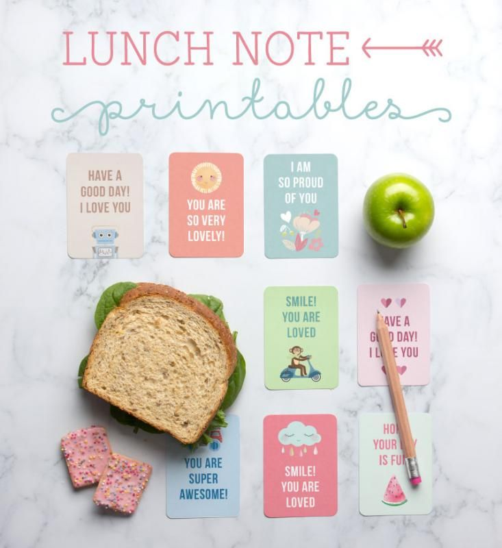 The most awesome free printable lunch box notes for kids from Tiny Me