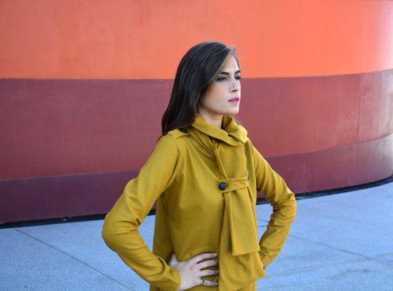 Manteau écharpe moutarde profonde par Barzelai sur Etsy, $94.00