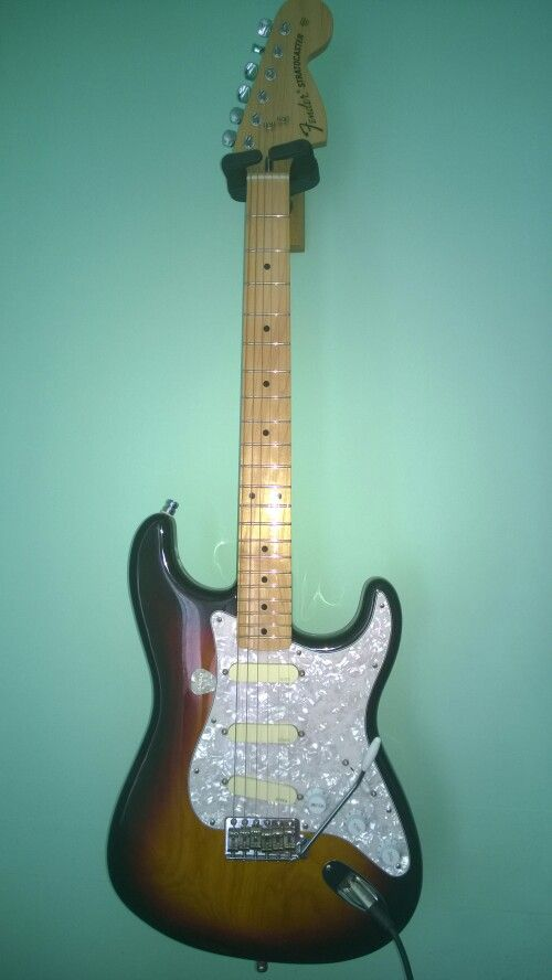 My Mexican fender Strat with EMG 'Gilmour' pickups and Bladerunner tremelo.