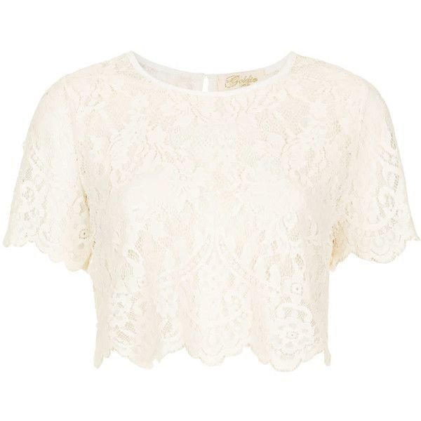 **Let it Be Lace Crop Top by Goldie (£15) ❤ liked on Polyvore featuring tops, crop tops, shirts, crop, ivory, ivory crop top, scallop top, lace top, lace shirt and ivory shirt