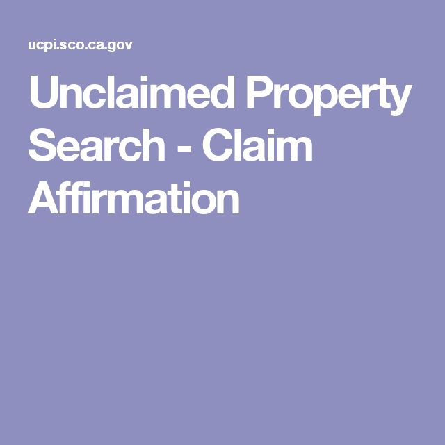 Unclaimed Property Search - Claim Affirmation