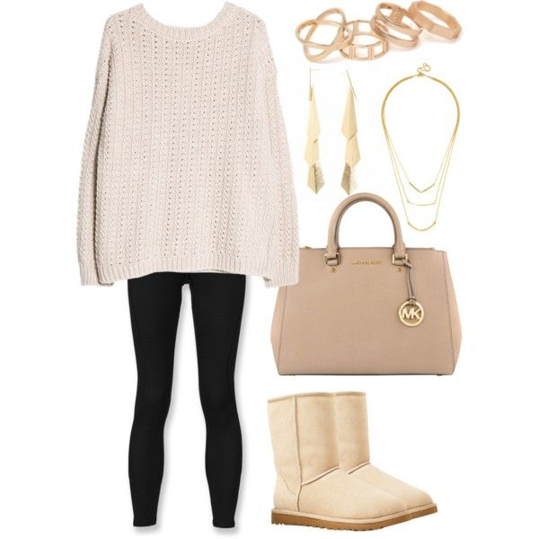 A fashion look from November 2014 featuring MANGO sweaters, The North Face tights and UGG Australia ankle booties. Browse and shop related looks.