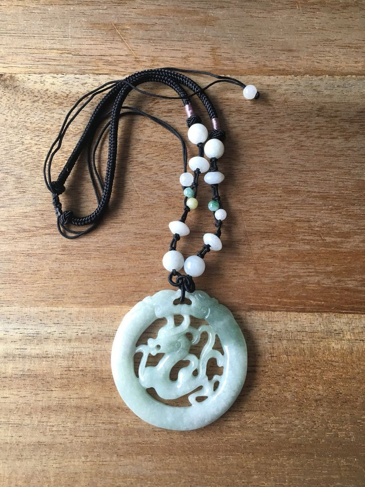 Jade Dragon Pendant - Chinese Zodiac Carved Light Green Jade Dragon Pendant Adjustable Black Cord Necklace by RitaCollection on Etsy