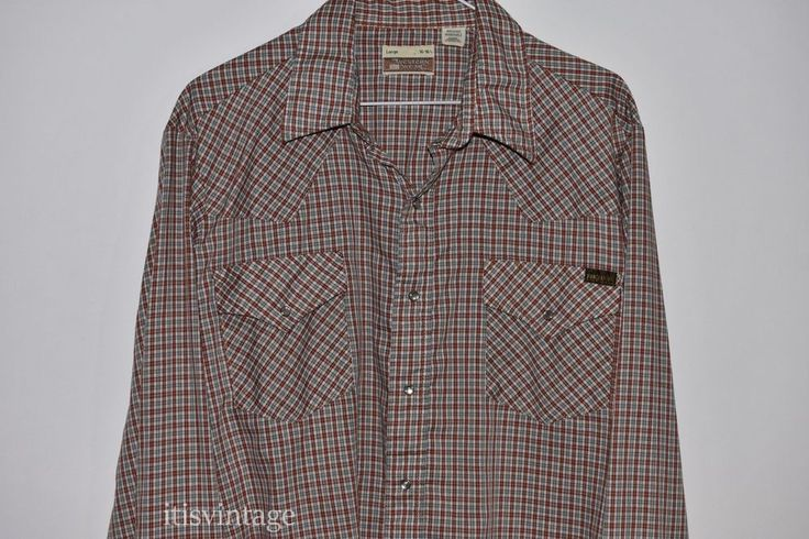 Vintage Sears Roebucks Western Wear Plaid Pearl Snap Long Sleeve Large Shirt 16 | Clothing, Shoes & Accessories, Men's Clothing, Casual Shirts | eBay!