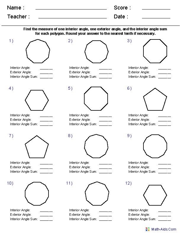 Names of polygons geometry worksheets quadrilaterals - Sum of exterior angles of polygon ...