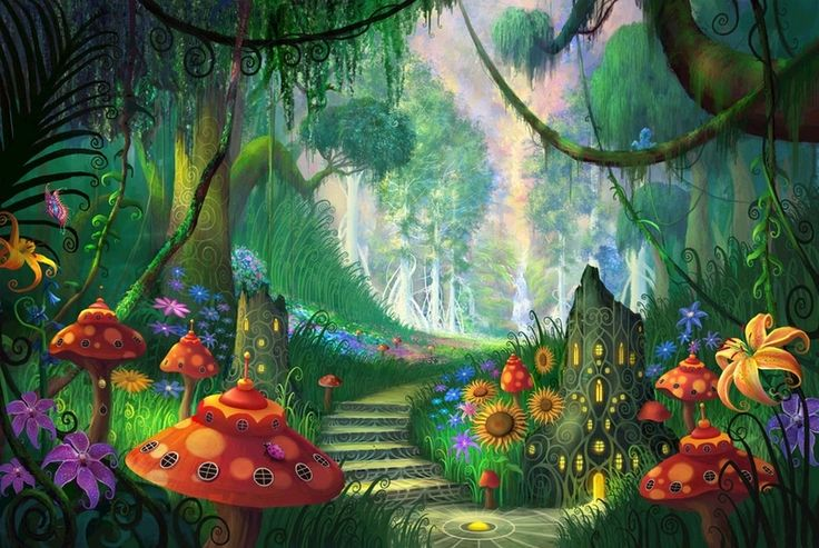 Mushroom forest woods cute picture and wallpaper for Enchanted forest mural wallpaper