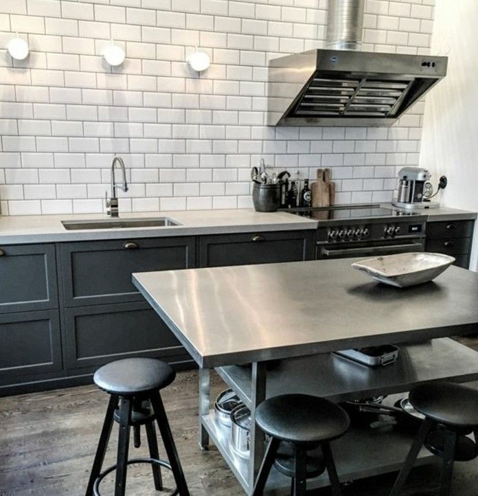 Awesome Cuisine Carrelage Gris Fonce Images - Design Trends 2017 ...