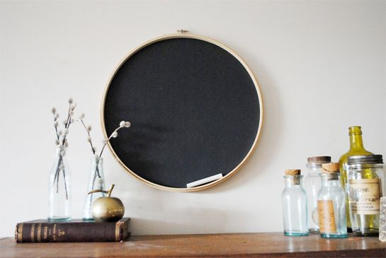 This is a wonderful idea for an entry way or place of high traffic. Embroidery hoop chalk board.