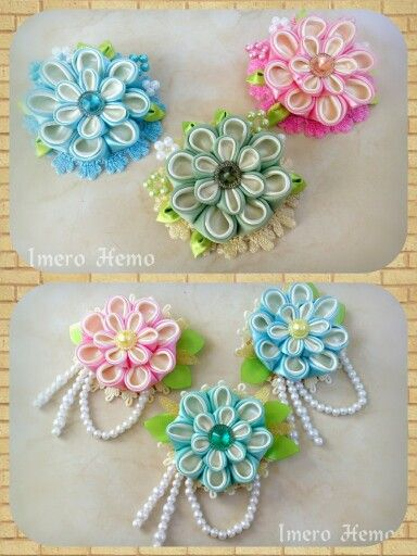 Cute fabric flower brooches
