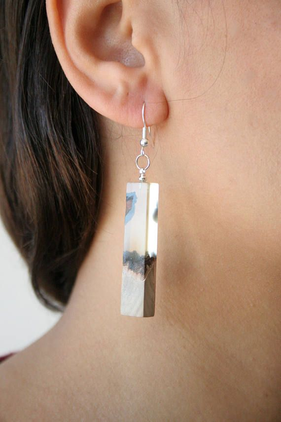 Boho Dangle Earrings Resin & Wood Earrings Jewelry