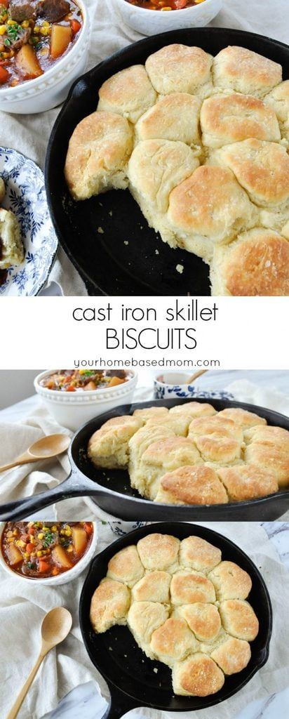 Cast Iron Skillet Biscuits Recipe - easy and delicious and the perfect addition to just about any meal!  #castironskilletbiscuits #biscuits #skilletbiscuits #bread #breadside #skilletrecipes