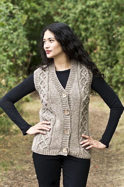 Ladies Cardigan Vest Knitting Pattern : 17 Best ideas about Knit Vest Pattern on Pinterest Knit vest, Crochet vest ...