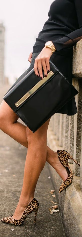 black sweater, black skirt, leopard pumps, black clutch, gold watch