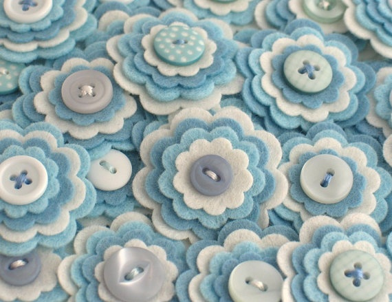 BABY BOY - Handmade Felt Flower Embellishments, Flower Applique, Felt Embellishment, Felt Bloom, Set of 3 via Etsy