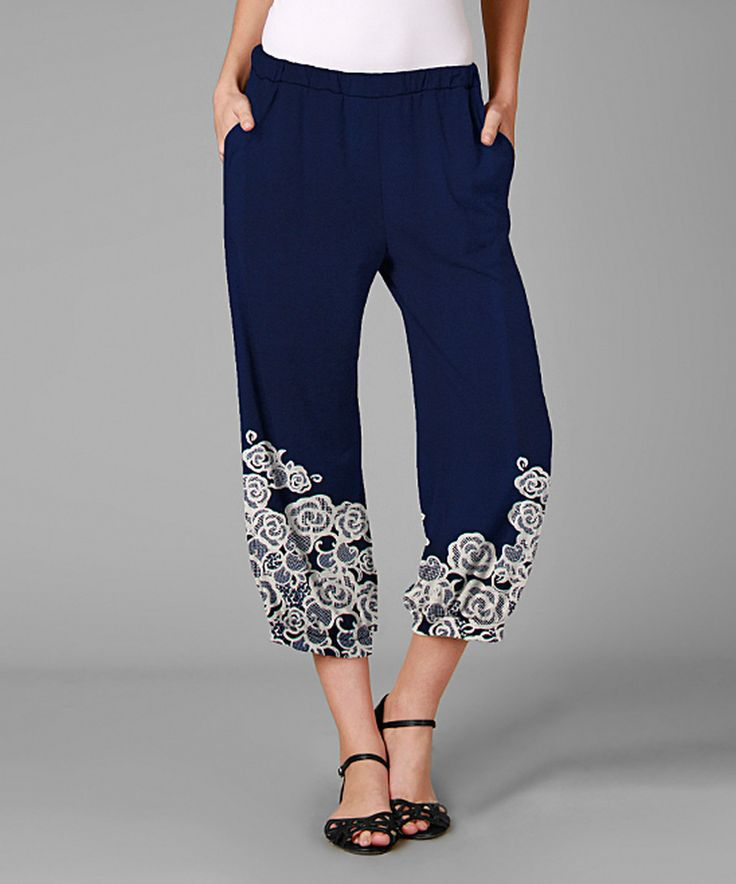 Love this Blue & White Floral Capri Harem Pants - Plus by Simply Aster on #zulily! #zulilyfinds