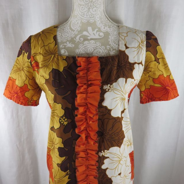 Vtg 1970s Hawaiian Dress M Fitted Ruffle Maxi Hibiscus Orange Gold Brown | eBay