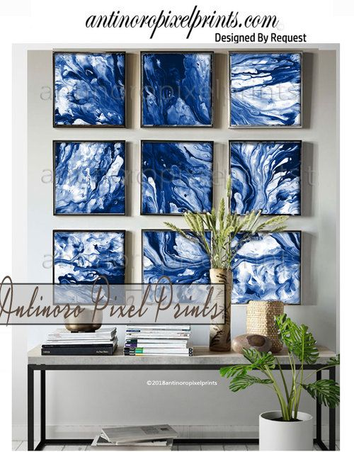 8x8 Bedroom Design: Art Marble Blues Stone Abstract, Set Includes (9) 8x8 Wall
