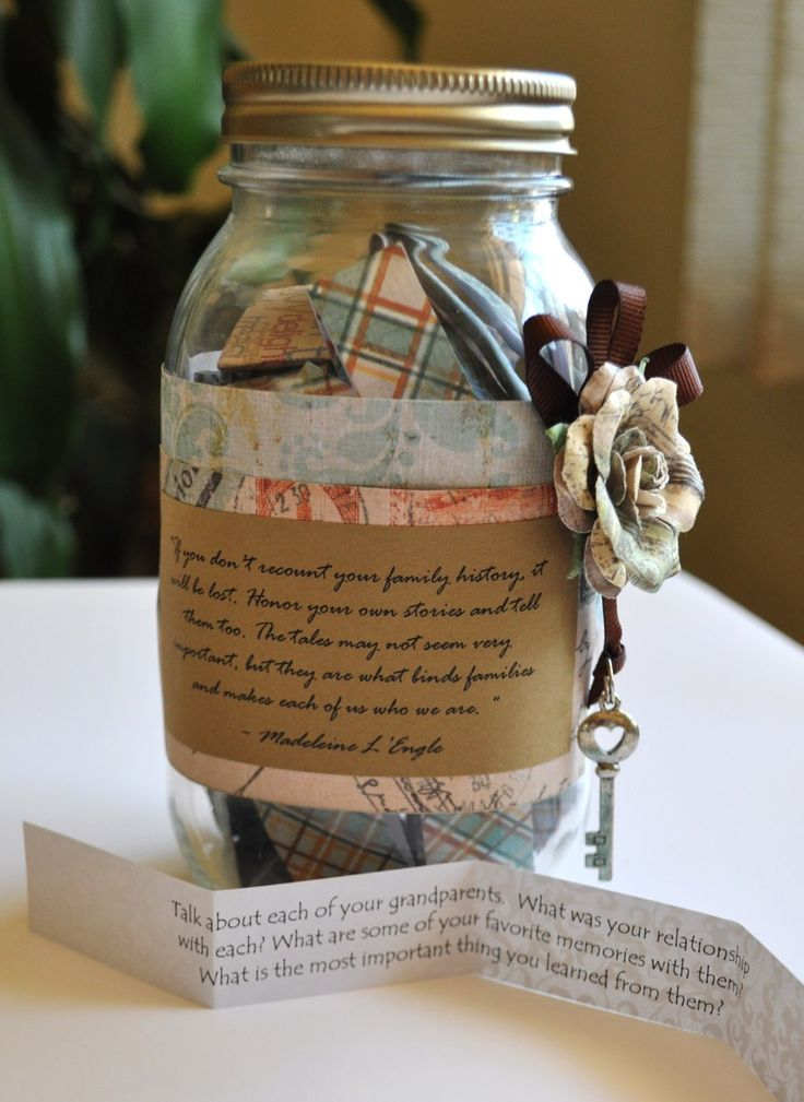 Family/Personal History Journal Jars - you could also fill this with facts about an ancestor or a family.  Then people could just read the pieces.  It would make a great gift or conversation starter for a family reunion.