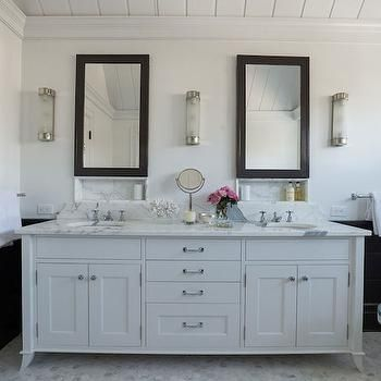 Black And White Walls Transitional Bathroom Alisberg Parker Architects