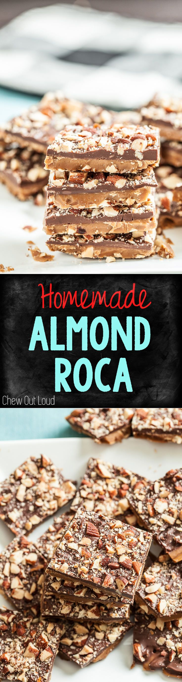 Homemade Almond Roca. Chocolate covered toffee with crushed almonds. Utterly awesome. #chocolate #candy #holiday