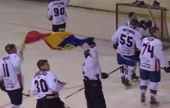 Romanian athlete hocheistii cursed and hit the Hungarians for flag waving on the ground (VIDEO)
