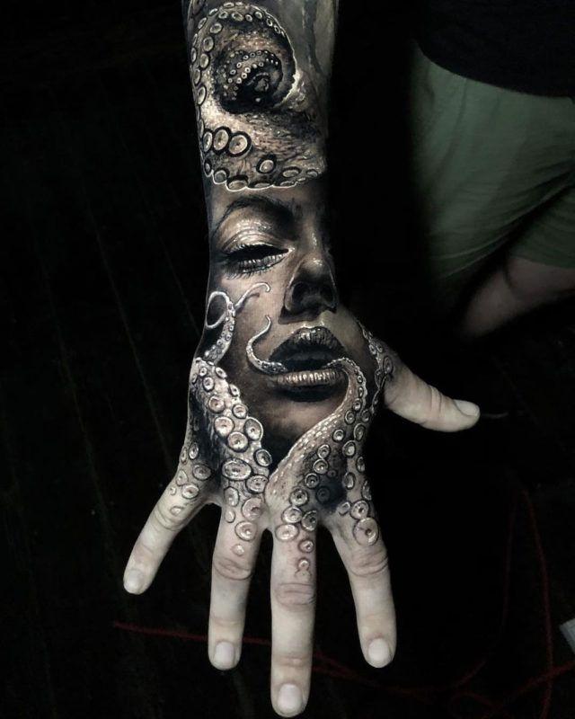 Squid Fingers Uncategorized Guys Hand Hand Tattoos Horror Tattoo