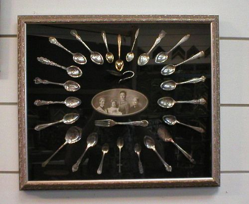 Custom framed Antique Spoon Collection - adding pictures tell the story