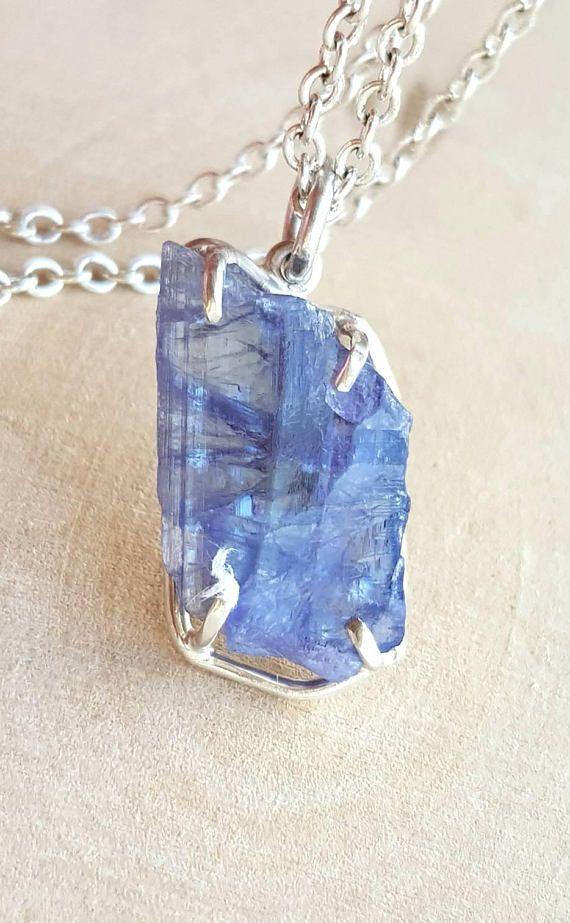 8e0bb53714745 Tanzanite Necklace December Birthstone Raw Tanzanite Choker Blue ...