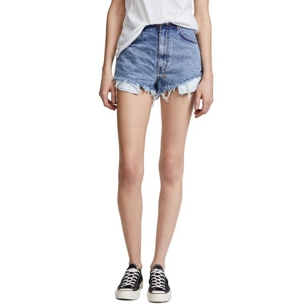 Ksubi Clas-Sick Cut Denim Shorts ($190) ❤ liked on Polyvore featuring shorts, ripped city, ripped jean shorts, destroyed shorts, distressed jean shorts, low rise jean shorts and low rise short shorts