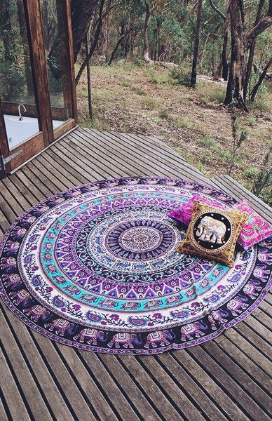 Indian Mandala Tapestries Round Beach Throw Wall Hanging Yoga Mat Boho Tapestry