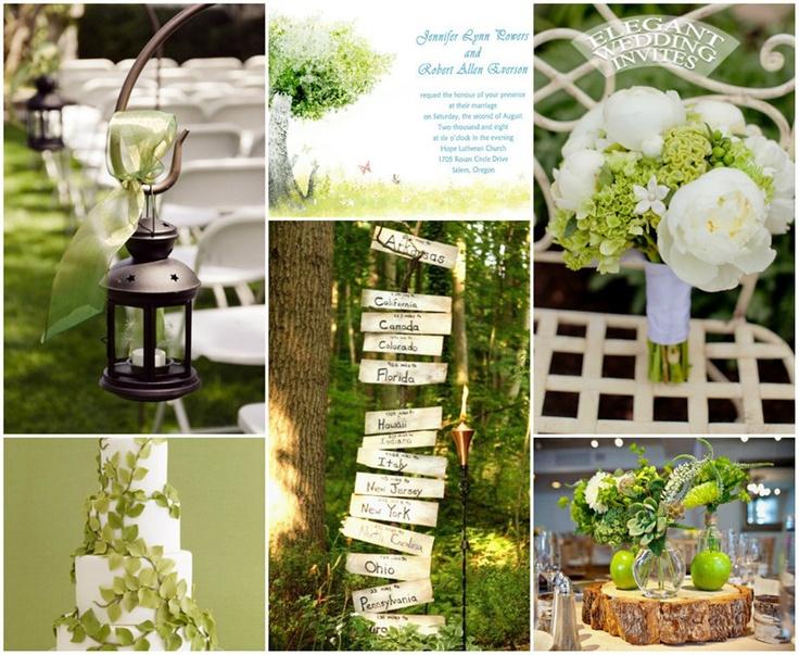Rustic Green Tree Country Theme Wedding Invitations Ewi040