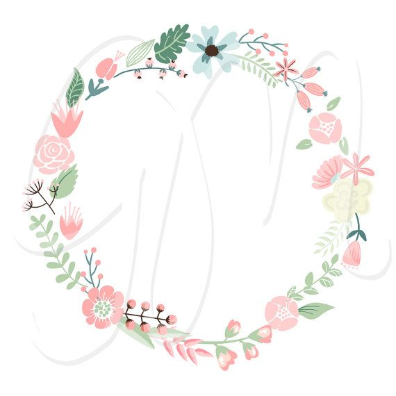 Clipart Floral mariage guirlande numérique cadres par GraphicMarket
