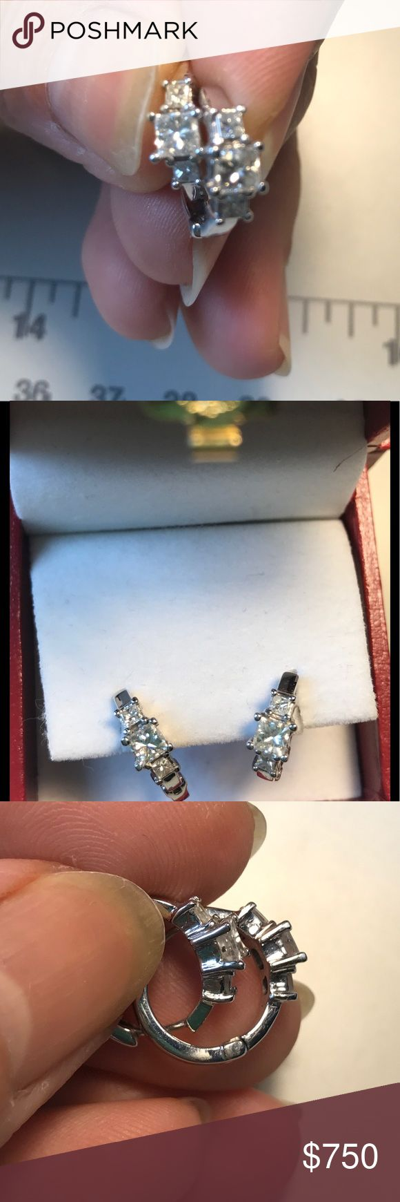 Earring Diamonds studs SI1-2,F-G Order special design  white gold 14 Kt. Princess cut Diamonds total 1 karat. I don't have paper. Money back guarantee 100% Jewelry Earrings