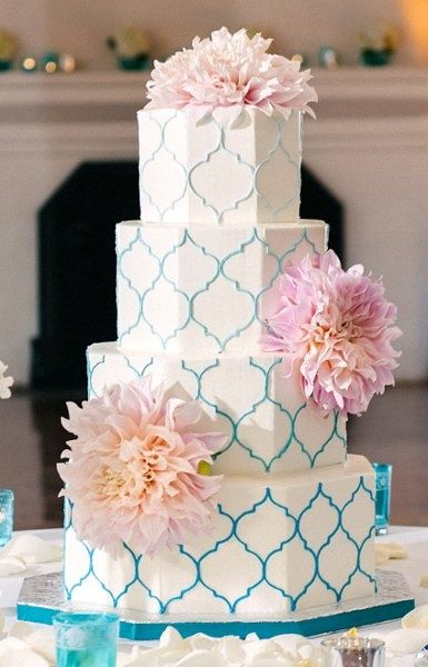 patterned ombre wedding cake {simply sweet cakery}