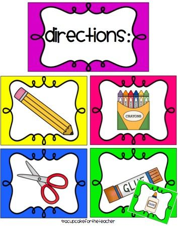 Laminate and put magnets on the back of these, and use them when going over directions.