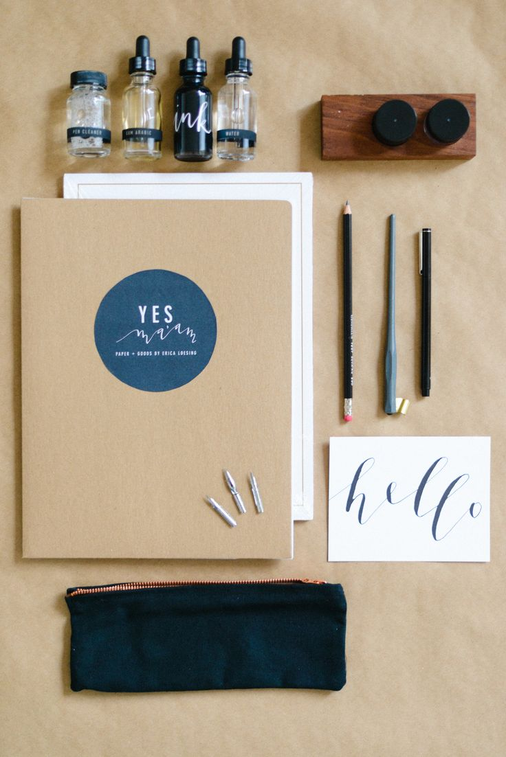 Calligraphy essentials | Read More: http://www.stylemepretty.com/living/2014/09/24/behind-the-scenes-camp-workshop/