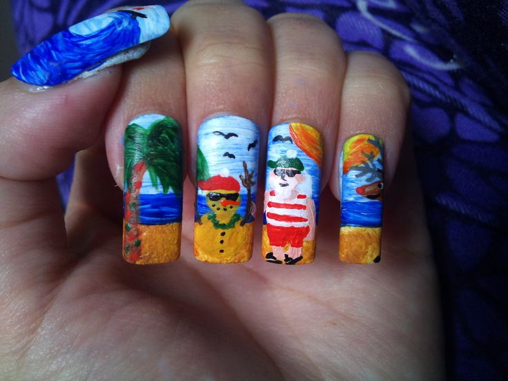 #summer #Christmas #xmas #hot #nailart #nails #santa