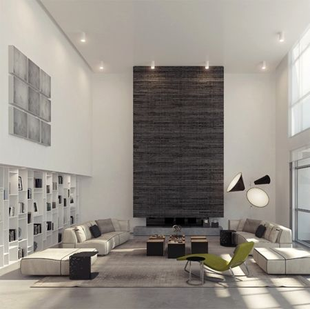 Architecture, Ideas For High Ceiling Decorating: The Color And Furniture  Which Matches: Dual Height Living Room