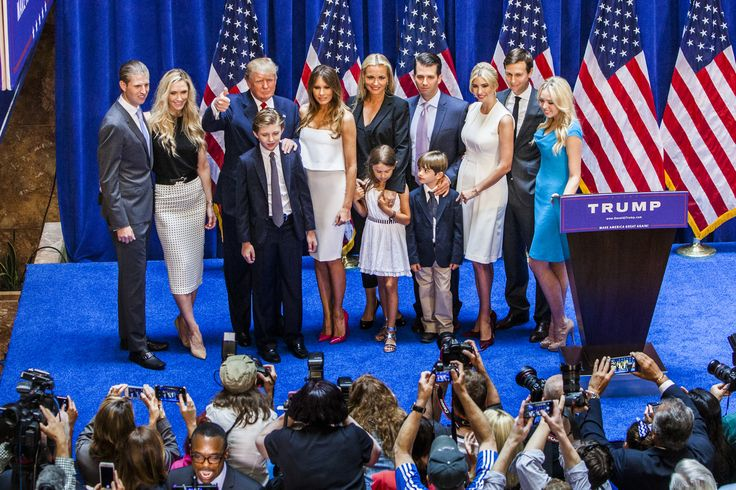 NEW YORK, NY - JUNE 16:   (L-R) Eric Trump, Lara Yunaska Trump, Donald Trump, Barron Trump, Melania Trump, Vanessa Haydon Trump, Kai Madison Trump, Donald Trump Jr., Donald John Trump III, Ivanka Trump, Jared Kushner, and Tiffany Trump pose for photos on stage after Donald Trump announced his candidacy for the U.S. presidency at Trump Tower on June 16, 2015 in New York City. Trump is the 12th Republican who has announced running for the White House.  (Photo by Christopher Gregory/Getty…