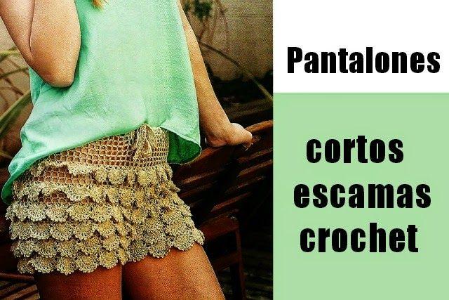 Pantalones cortos de escamas de crochet - Patrones Crochet