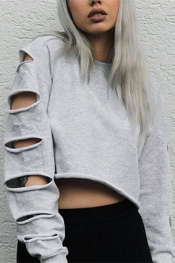 Grey Short Length Hollow Out Sweatshirt