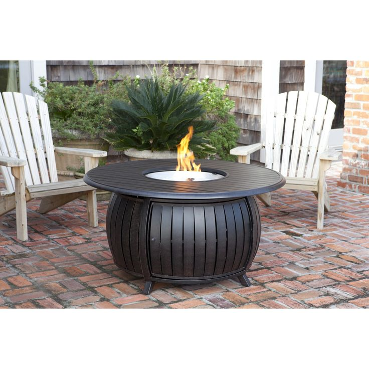 Extruded Aluminum Round LPG Fire Pit. We are proud to offer our multifunctional Grand Cooper Extruded Aluminum Round LPG Fire Pit.  This 40,000 BTU unit operates on a standard 20 lbs propane tank which safely sits underneath the unit, and is accessible through a hinged door.  Our Grand Cooper Extruded Aluminum Round LPG Fire Pit not only functions as a fire pit, but an outdoor patio table as well with its convenient extruded aluminum fire bowl lid.  This unit produces a beautiful...