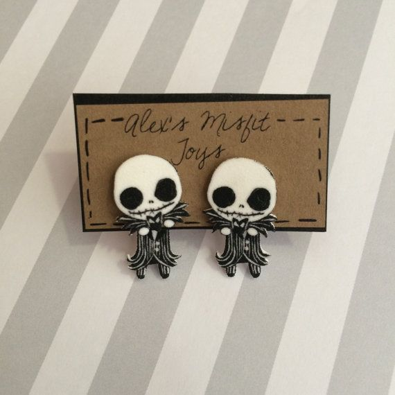 Ready just in time for Halloween! These cute earrings create the illusion that Jack is clinging to your ear! These earrings started off as a