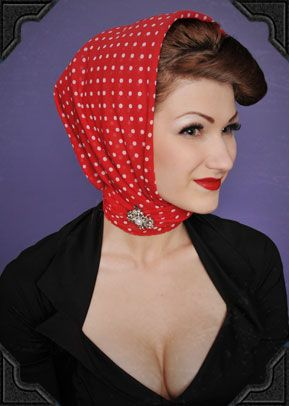 For classic old fashioned Hollywood glamour (or to hide your pin curls) fold a scarf into a triangle and frame your face with the longest edge. Wrap the corners around your neck and tie or secure with a brooch for extra glamour!