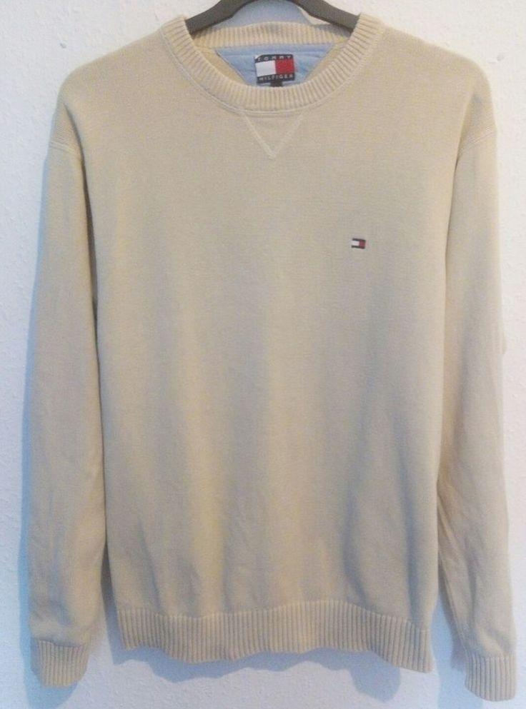 Tommy Hilfiger Crew Neck Jumper Medium Knit 100% Cotton Beige Cream Size L VGC