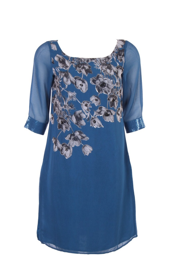 Blue Floral Printed Kurta In Poly Georgette; U Neck; Quarter Sleeve With Sequin Embellishment; 38 Inches In Length #Wishful #Clothing #Fashion #Style #Kurti #Wear #Colors #Apparel #Semiformal #Print #Casuals #W for #Woman