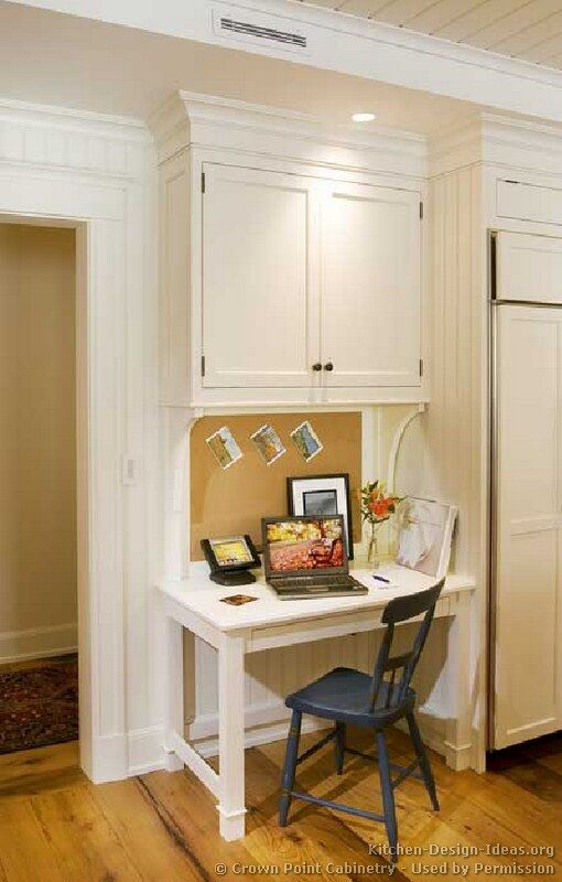 Cute and compact kitchen desk. i like the openness of the legs.