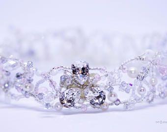 Märchen, Cosplay, Hochzeit, Verlobung, Kristalle von Swarovski(R), Halsband, Choker, Halskorsett, Tropfen, Glasperlen, Zuchtperlen, weiß