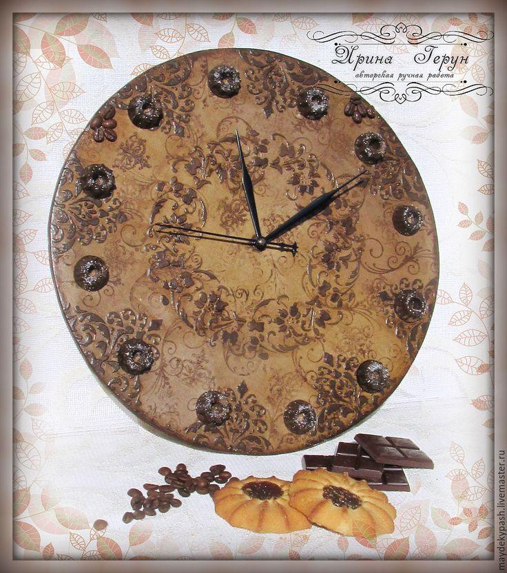 """Купить Часы """"Кофейный шоколад"""" - коричневый, часы, часы настенные, часы интерьерные"""